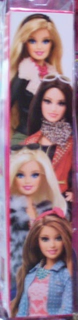 Box side showing 4 Mattel Barbie Style 2014 fashion dolls