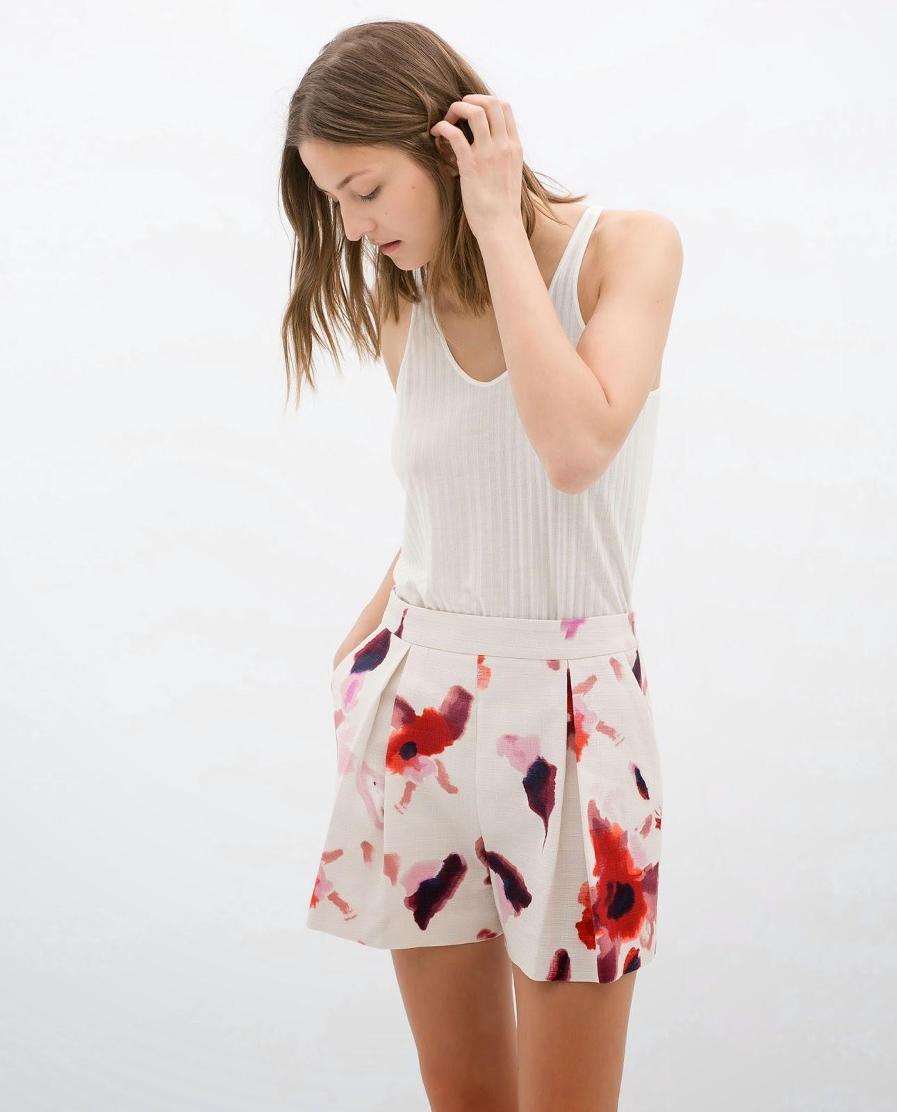 zara patterned shorts