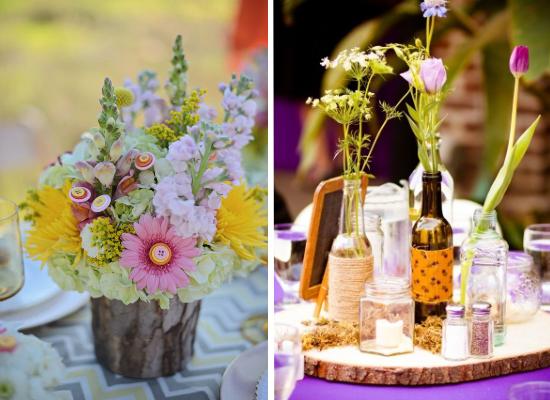 Centritavola da matrimonio alternativi, alternative wedding centerpieces, wood wedding centerpieces