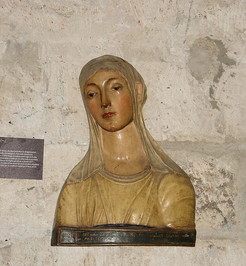 Also in the Consistory Hall, this terracotta bust of Saint Catherine (1347-1380) at age 33 is reputed to be from her death mask. After joining the Third Order of Dominicans, she had a revelation in 1376 and traveled to Avignon in an attempt to negotiate peace between Pope Gregory XI and Florence, Italy. Sadly, her mission failed but it was instrumental in the papal court's eventual return to Rome, Italy.