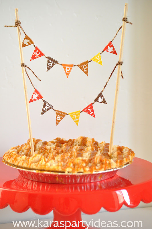 Karas Party Ideas FREE Mini Cake Pennant Bunting for Thanksgiving