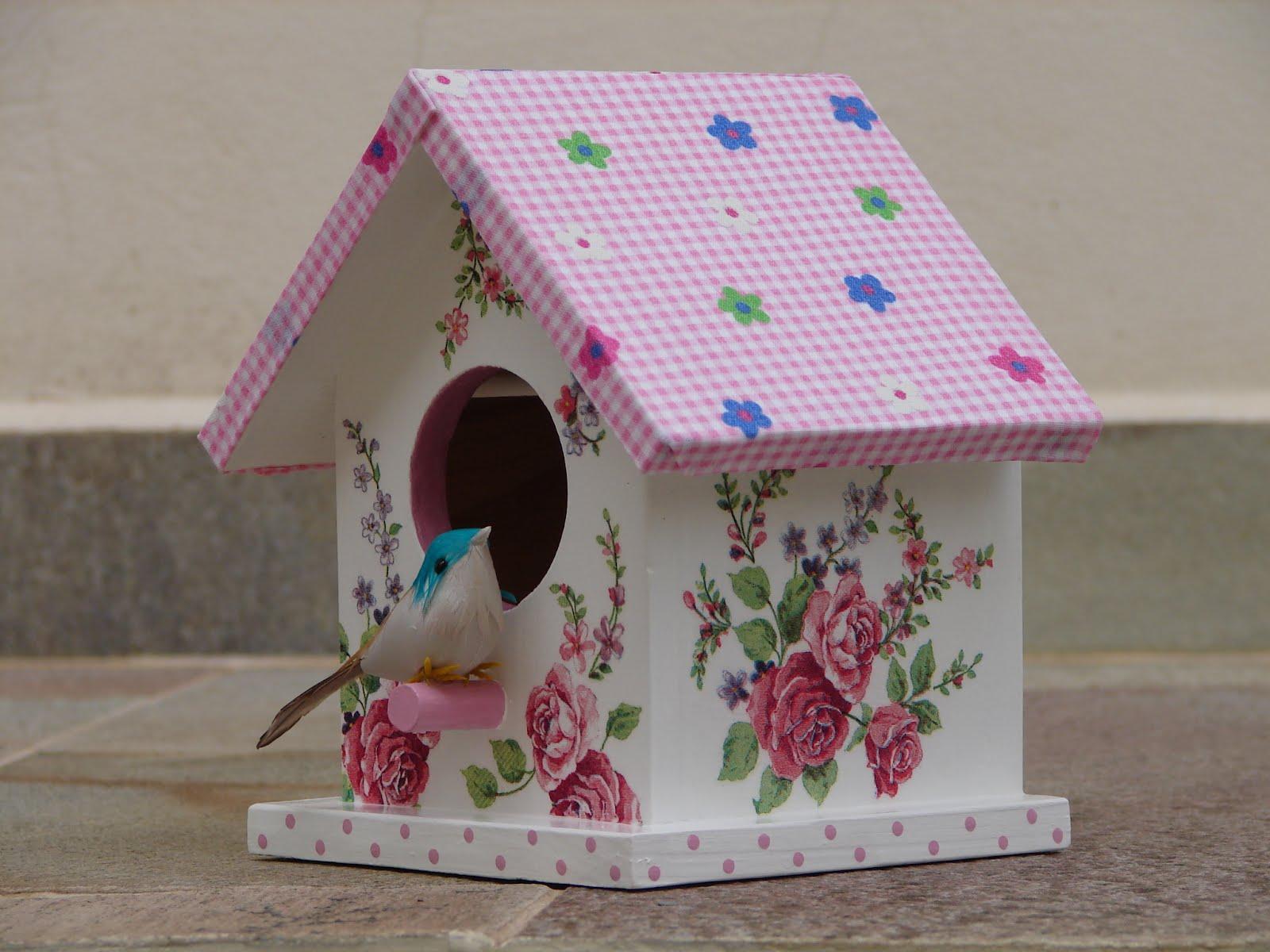 Bell'Arte Arte em madeira e tecido: Casinha de Passarinho Floral  #854675 1600x1200