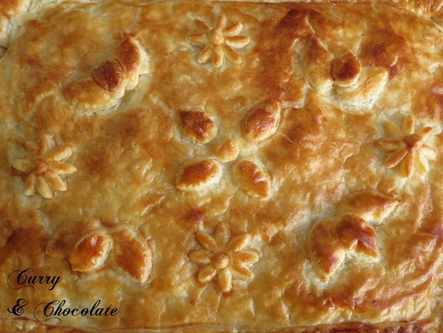 Hojaldre de puerro y champiñones con queso havarti