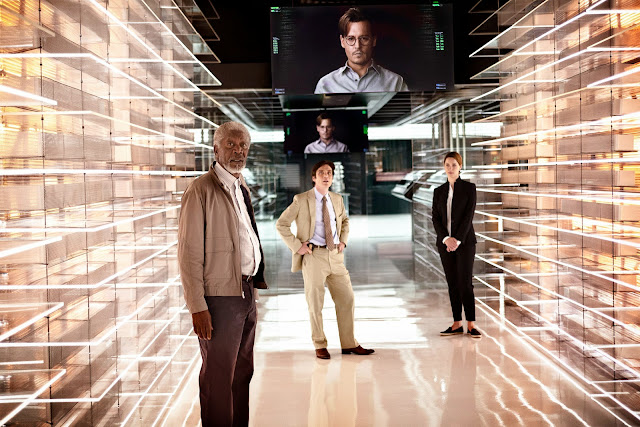 Transcendence movie still featuring Johnny Depp, Morgan Freeman, Cillian Murphy, Rebecca Hall