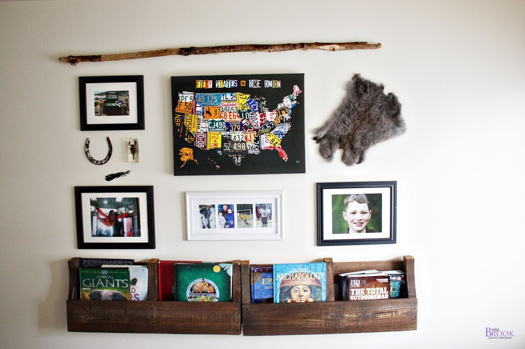 Pallet shelf gallery wall teen boy bedroom beingbrook for Gallery wall shelves