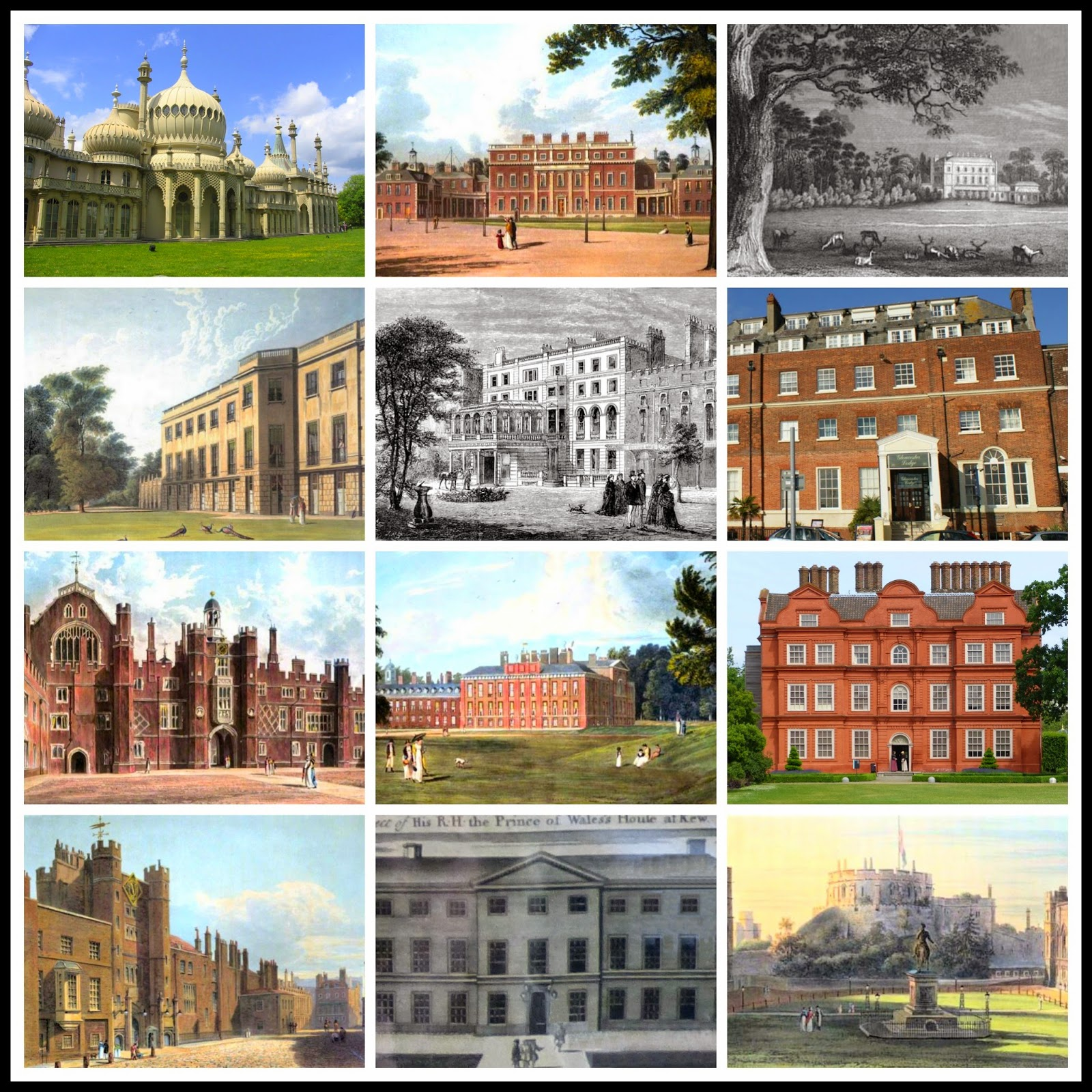 A collage of 12 royal residences