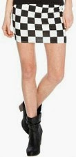 Two Tone Black & White Checkered Mini Skirt