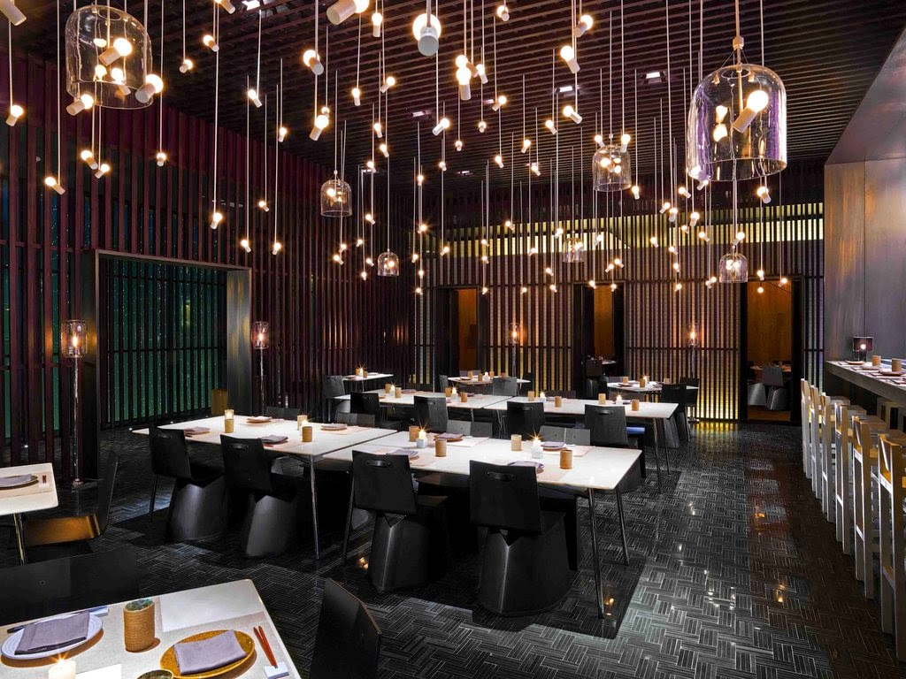 Amazing Asian Restaurant Interior Design Used Traditional Ceiling Lighting Decoration Ideas and Contemporary Furniture