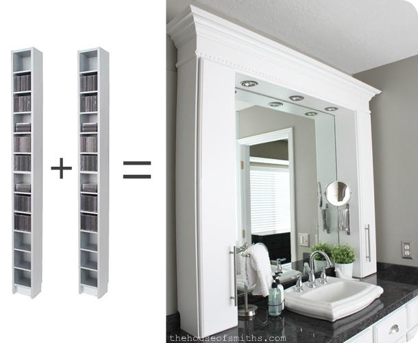 Master Bathroom Makeover Reveal CD Towers turned Vanity Storage