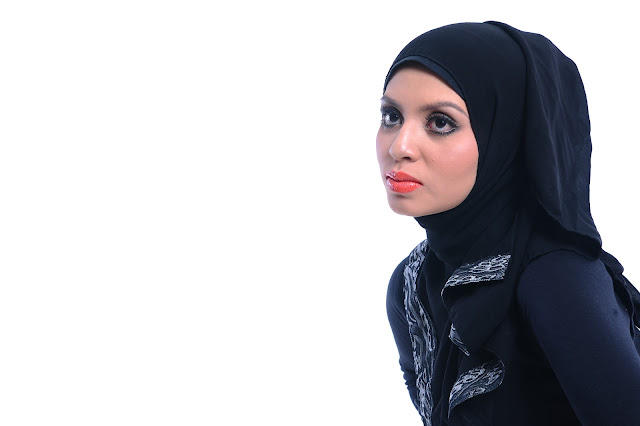 Adibah Karimah in black dress photoshoot by Hafiz Atan