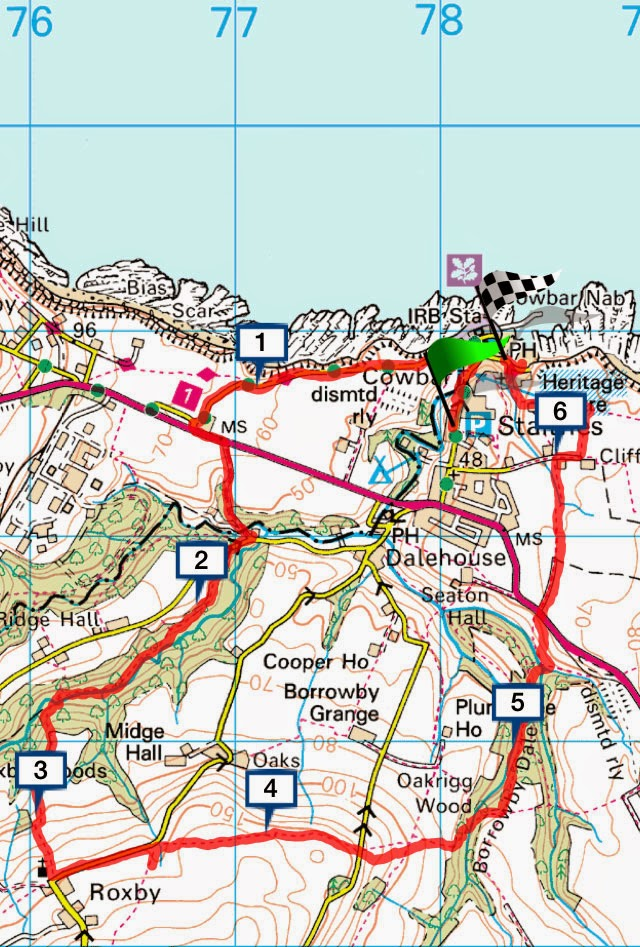 Staithes Cleveland Way circular walk, map, route, North-Yorkshire