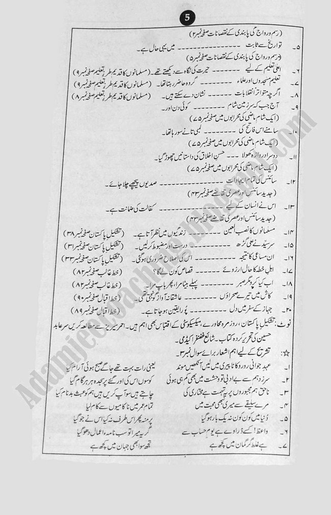 Urdu Guess Papers Science Group XI 2013