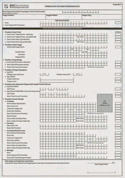 Formulir BPJS Daftar Isian Perubahan Data