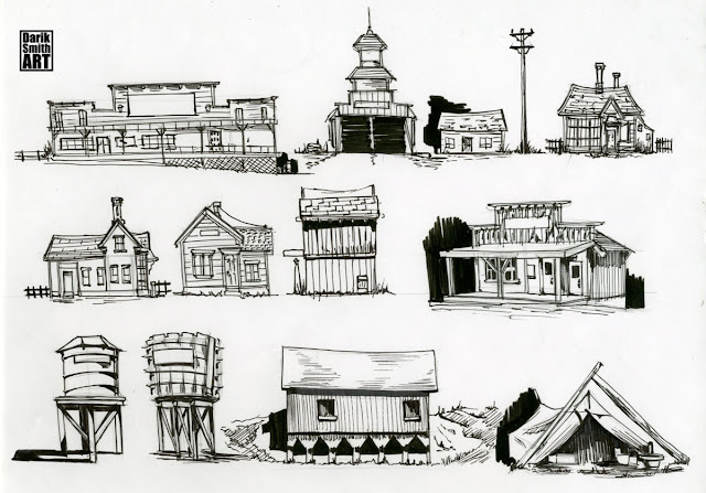 Simple Town Drawing Western townOld Western Town Drawing