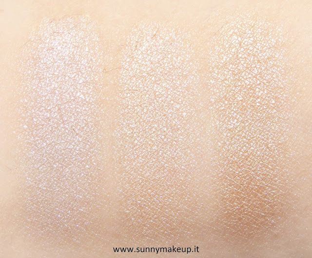 Swatch Make Up For Ever - Palette Artist Nude. Palette di ombretti Artist Shadow. Da sinistra verso destra: I - 528, I - 514, ME - 512.