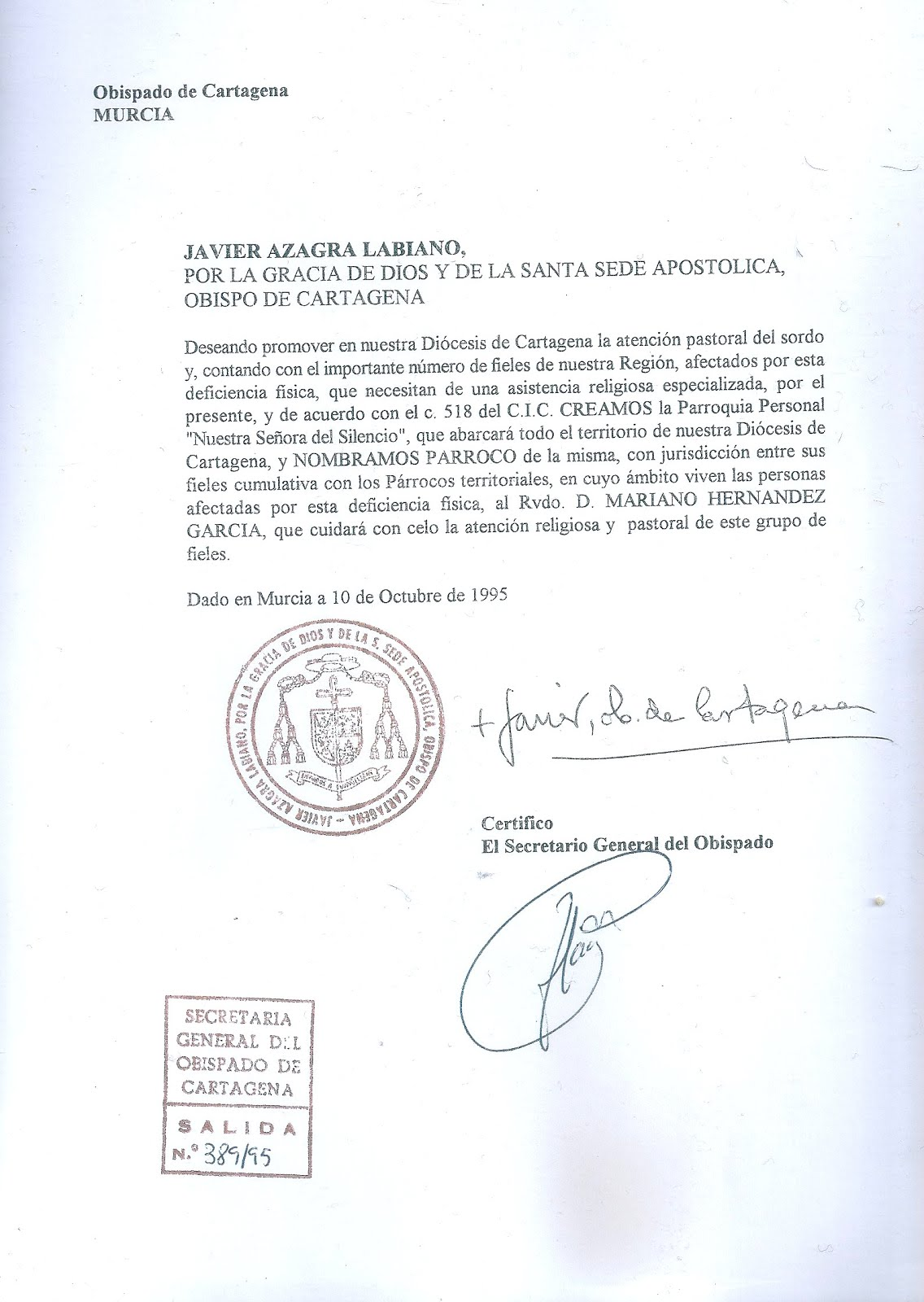 PARROQUIA PERSONAL DE SORDOS