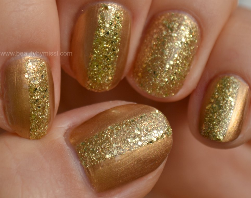 glitter manicure, eye-catching manicure, stripes,