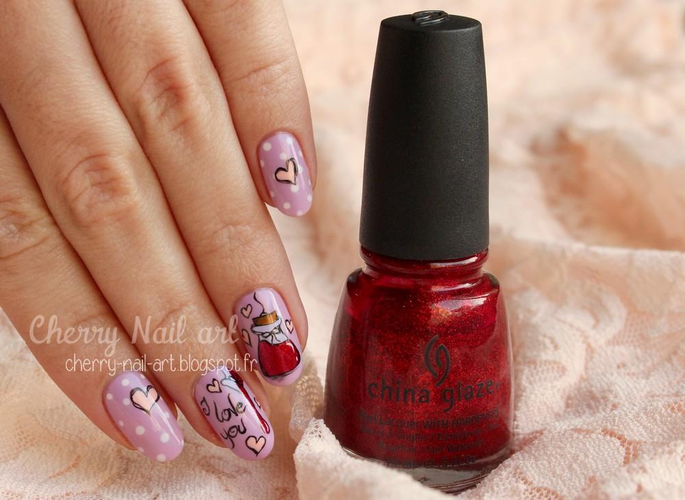 nail art saint valentin philtre d'amour