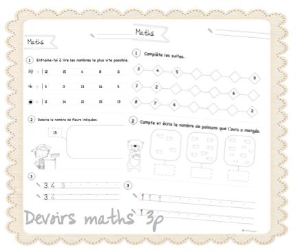 Sur Le Chemin De L Ecole Devoirs Maths 3p