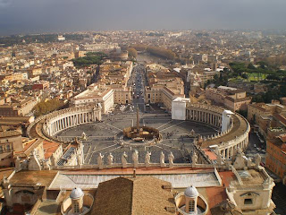 48 hrs in Rome. The Vatican Square from the top of St Peters Basilica, Rome