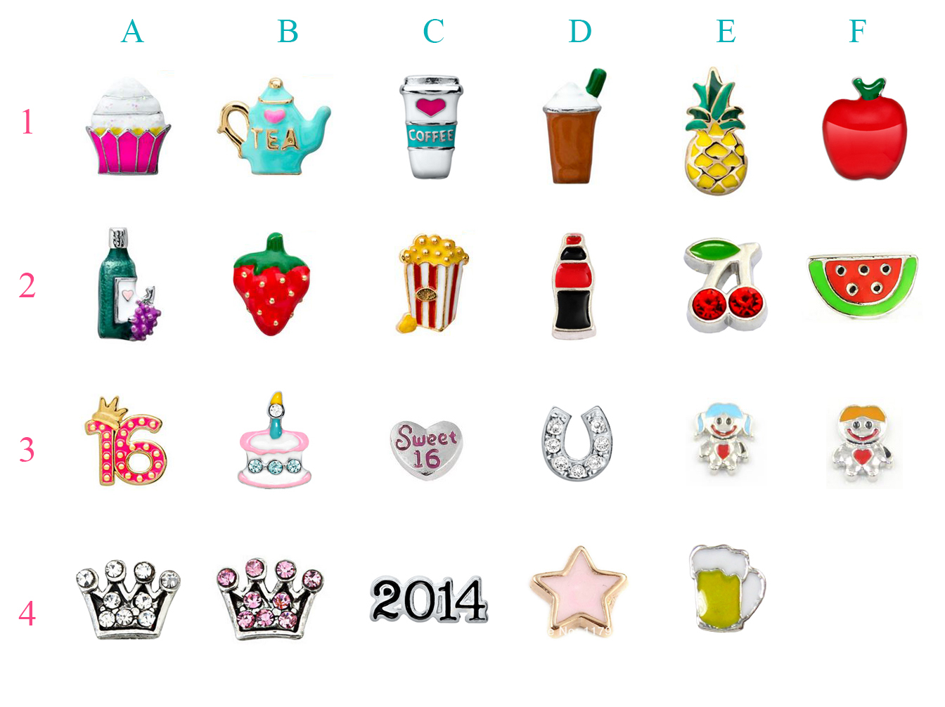 origami owl charms chart
