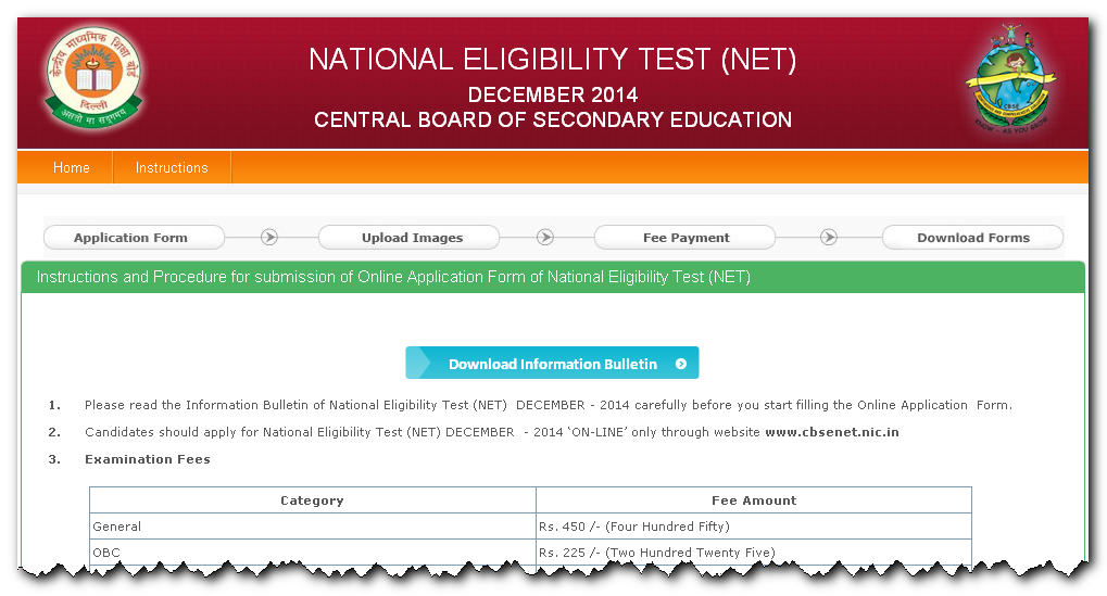 UGC NET December 2014 Online Form