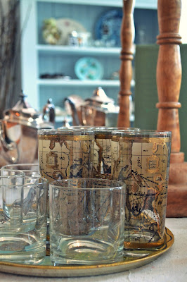 glasses, cups, maps, shop local, ludlow home, phinney ridge, greenwood, seattle, home decor, vintage, antiques, home accessories