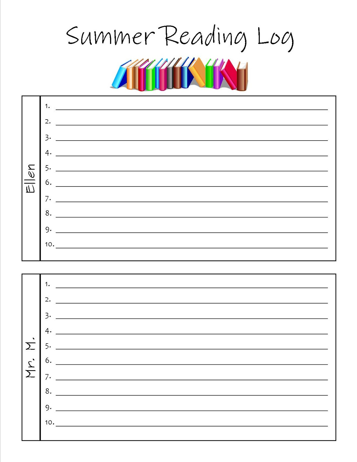 Reading log samples middle school reading log book for Summer reading log template