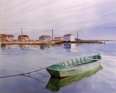 aquarelle-la barque-Oléron