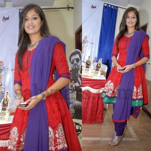 Meghana Raj Red Anarkali Salwar Kameez