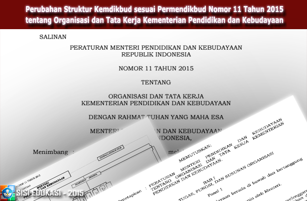 Perubahan Struktur Kemdikbud sesuai Permendikbud Nomor 11 Tahun 2015 tentang Organisasi dan Tata Kerja Kementerian Pendidikan dan Kebudayaan