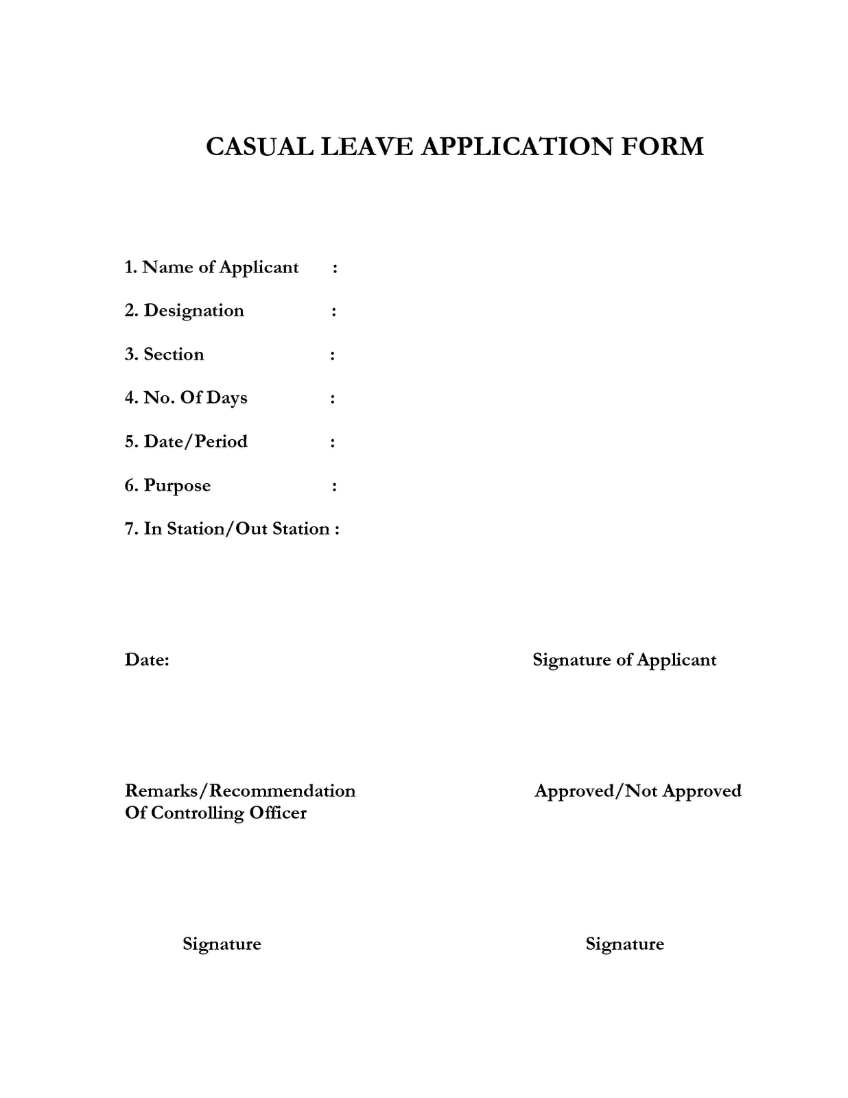 leave application format – Format of Leave Application Form
