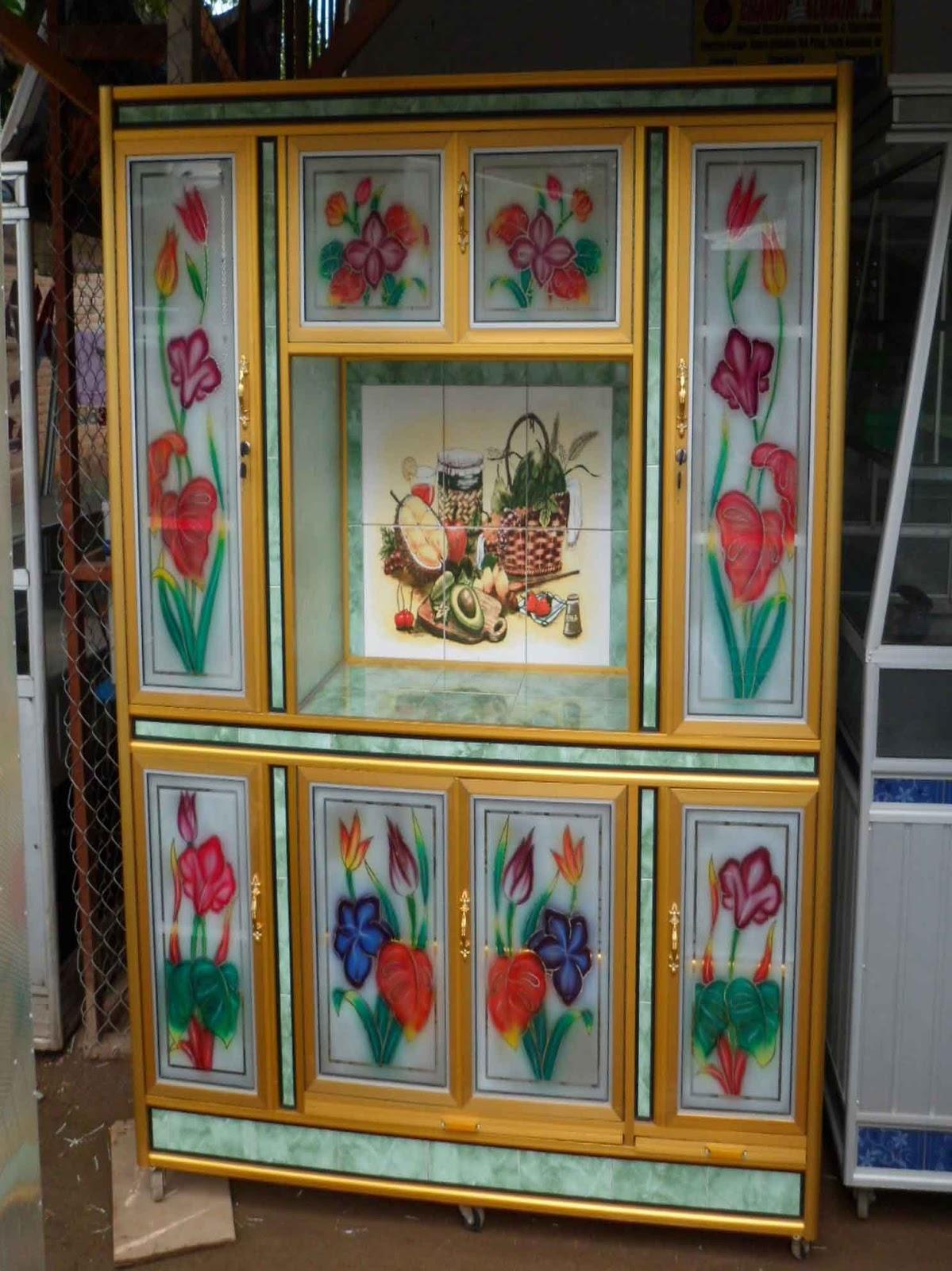 Lemari 8 Pintu + Meja Keramik + Keramik Gambar ALUMINIUM