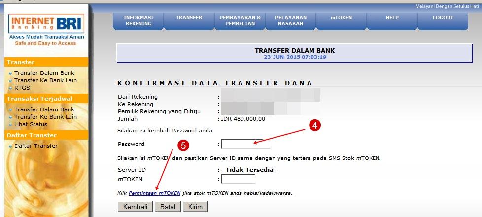 Cara Transfer Internet Banking BRI Single mToken Terbaru