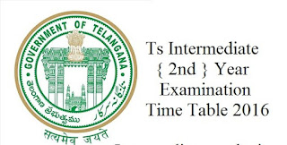Download TS Intermediate Hall Ticket 2016 – Check Exam Time Table