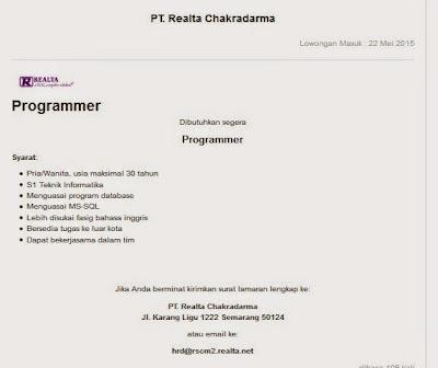 Lowongan kerja resmi PT Realta Chakradarma