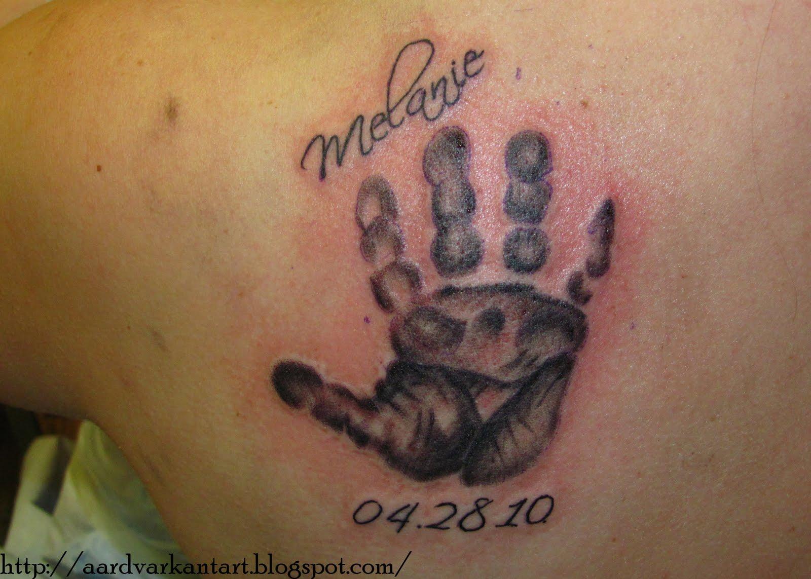 Tattoo Lettering Topic Tattoo Ideas Baby Handprint