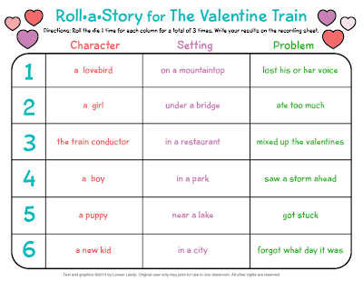 the valentine train roll a story freebie - Valentine Stories