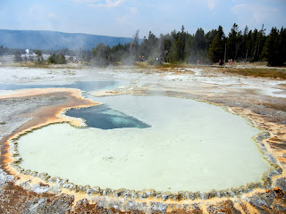 Walking around Geyser Hill in Yellowstone National Park in Wyoming