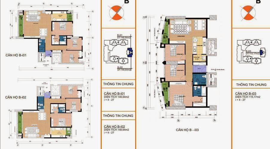 Mặt bằng căn hộ B- i01, i02 148,64m2 ; i03 115,13m2
