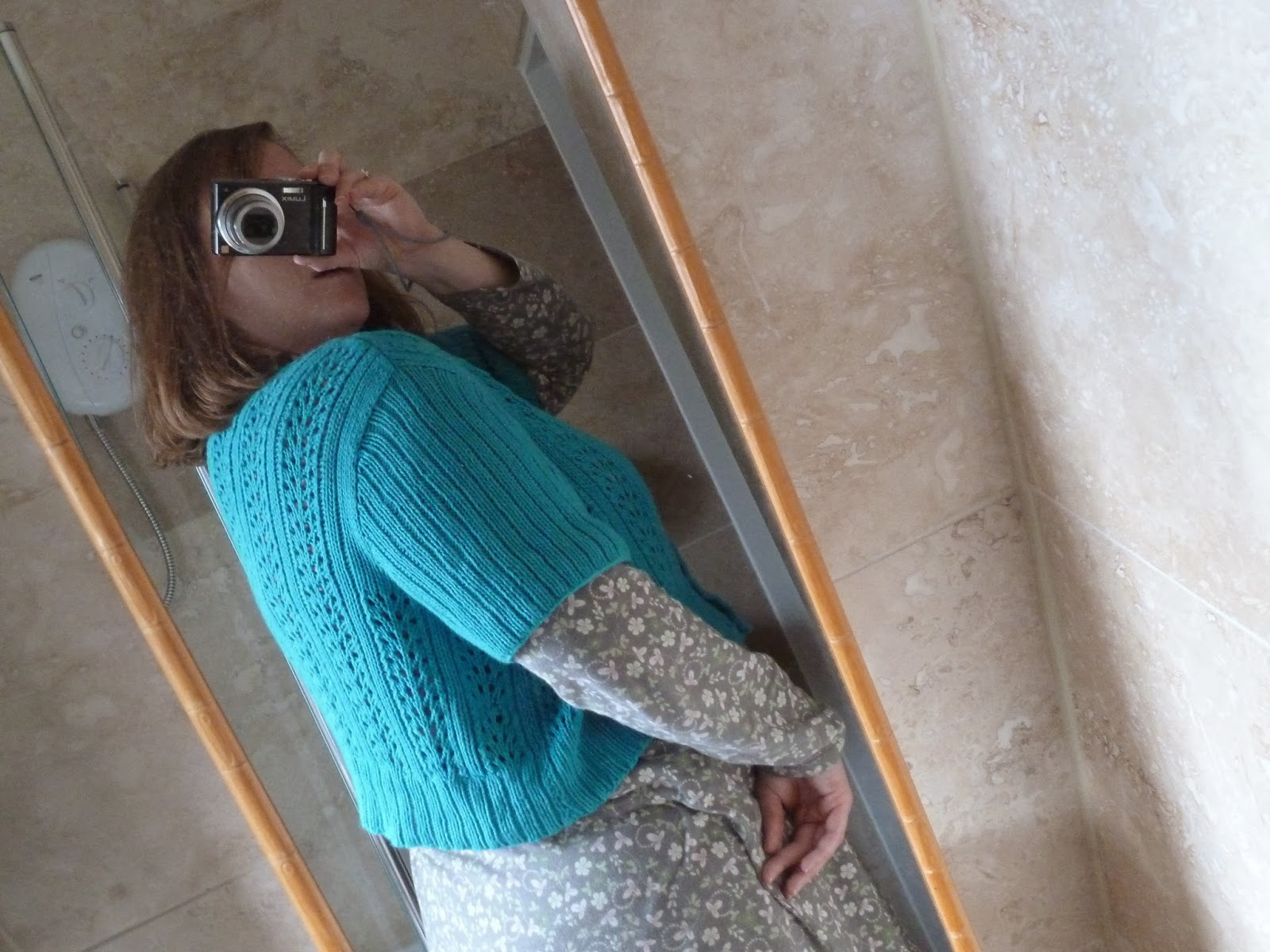 Hand knitted Double V Cardigan - Melissa Wehrle - cropped with different sleeves