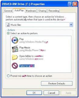 Menonaktifkan (disable) autorun /autoplay CD /DVD