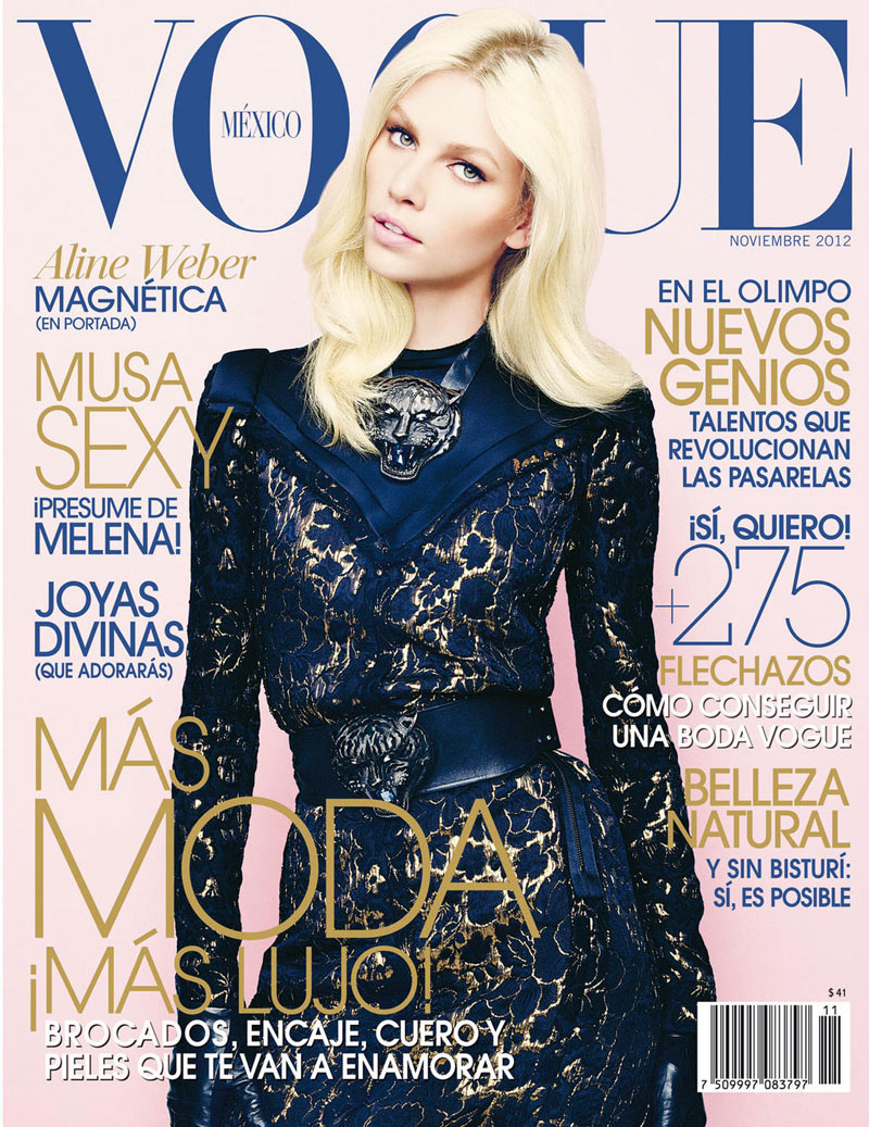 Aline Weber in Lanvin by Alber Elbaz on a cover of Vogue Mexico November 2012 via www.fashionedbylove.co.uk