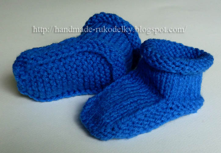 Hand Made Rukodelky Simple Knitted Bootiesslippers For Baby