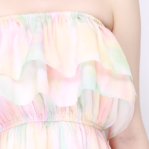 Pastel Marble Chiffon Tiered Tube Dress