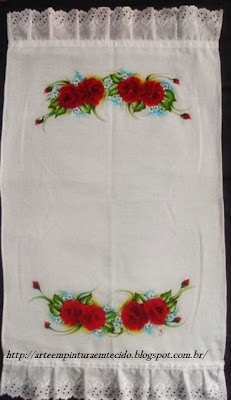 pintura em tecido rosas vermelhas pano de prato