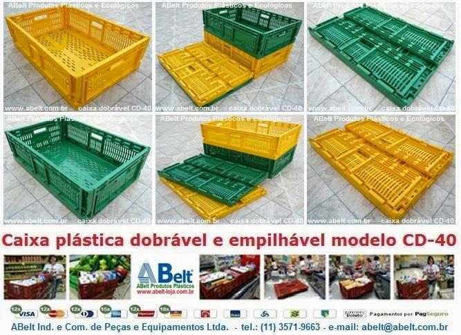 Caixa plástica dobrável e empilhável