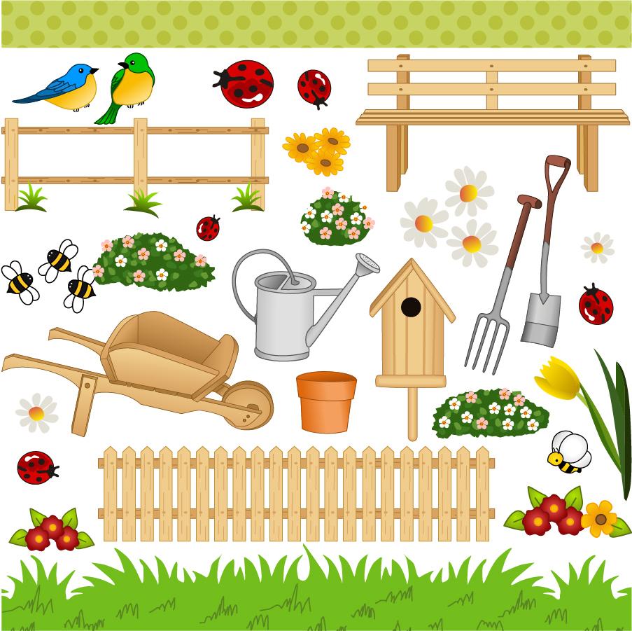 ガーデニング用品 gardening green space material イラスト素材