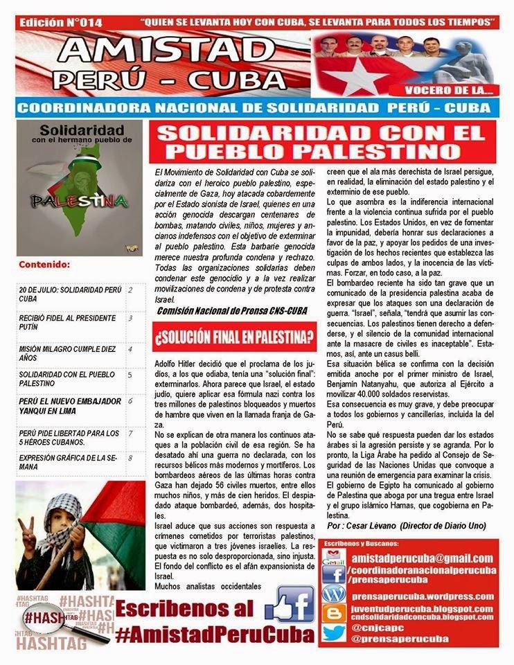 "BOLETÍN N°014 ""AMISTAD PERÚ CUBA"""