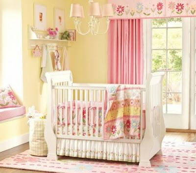habitaciones de bebé en rosa amarillo